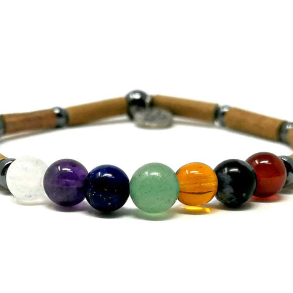 S51 | Pierres chakras | Bracelet de noisetier simple