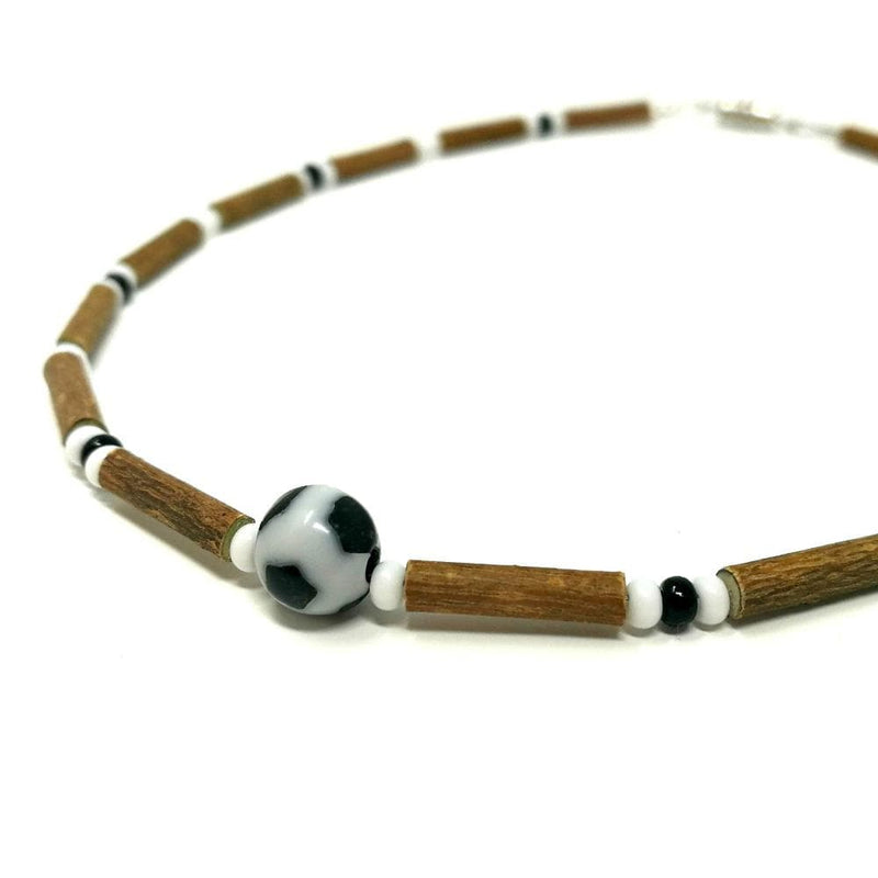 B14 | Soccer ball | Hazel wood necklace for babies & toddlers age 3-4 (center)
