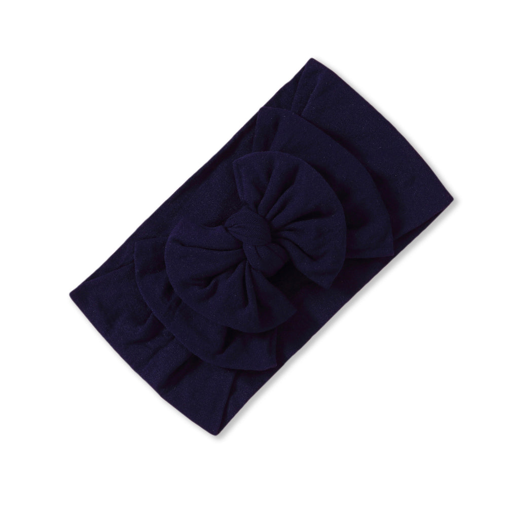 Baby Soft n Stretchy Double Bow Plain Headband — Black