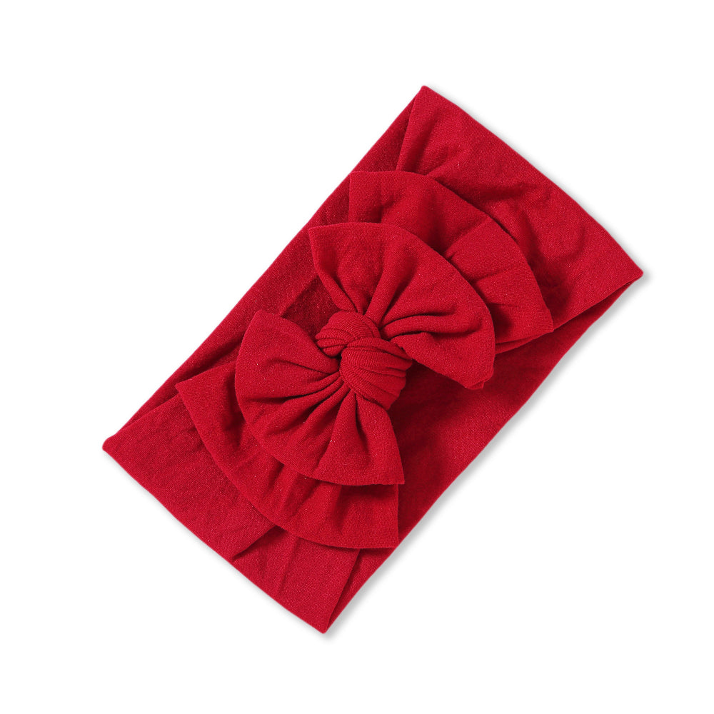 Baby Soft n Stretchy Double Bow Plain Headband — Cherry