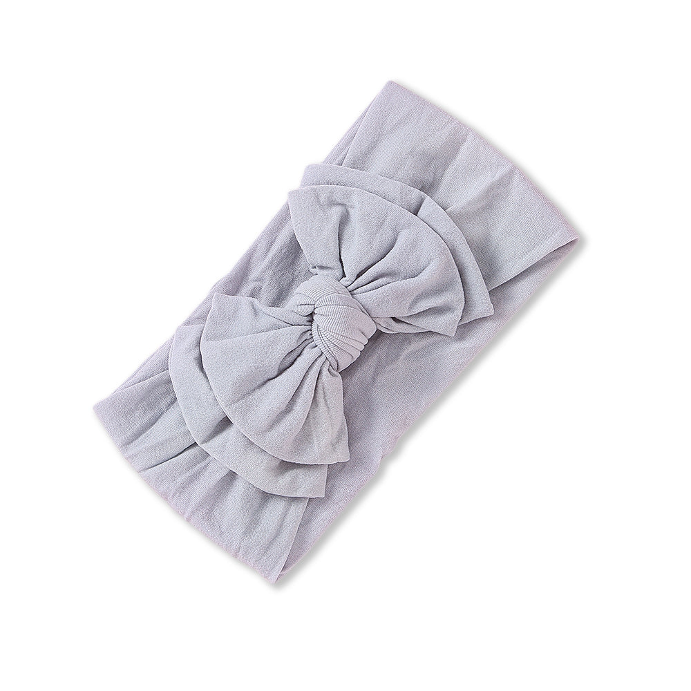 Baby Soft n Stretchy Double Bow Plain Headband — Cloud
