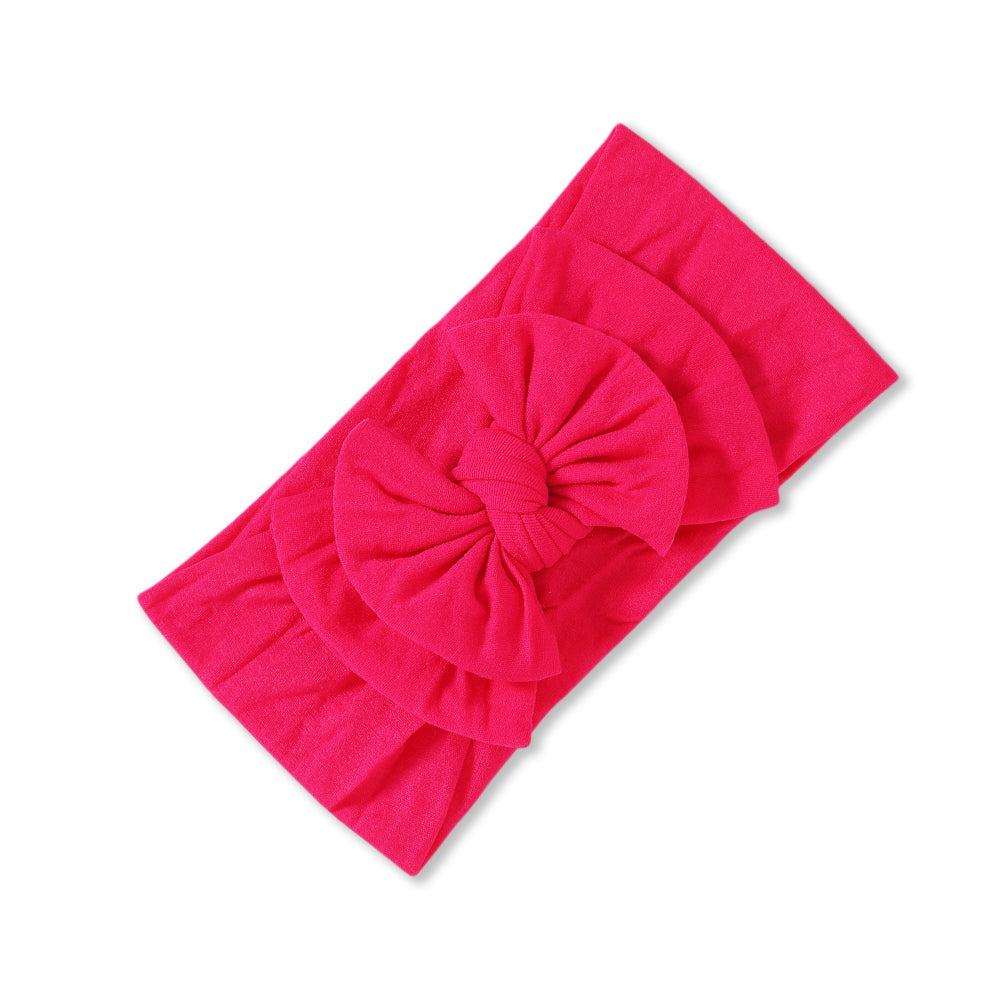 Baby Soft n Stretchy Double Bow Plain Headband — Lipstick