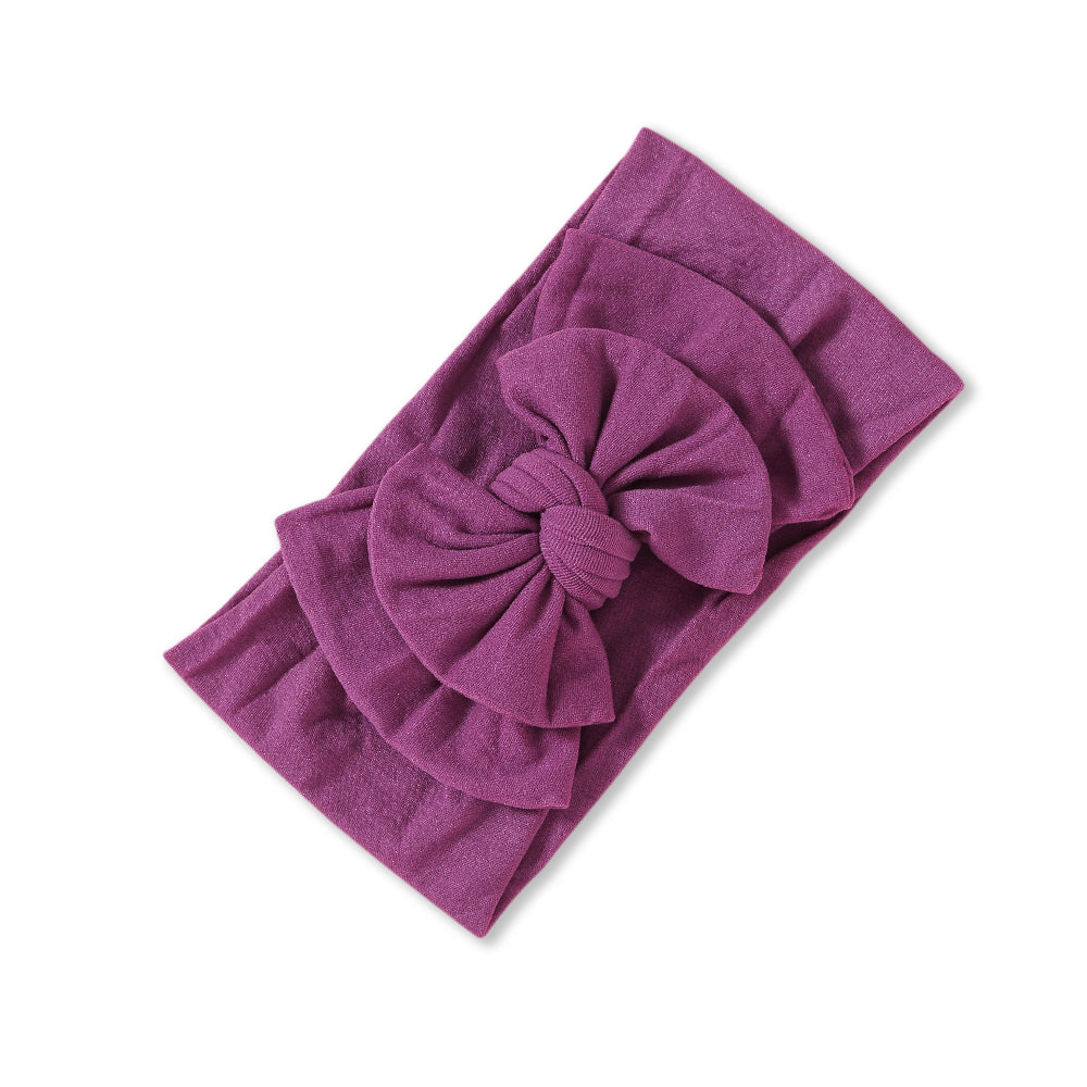 Baby Soft n Stretchy Double Bow Plain Headband — Mauve