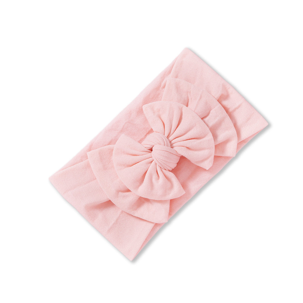 Baby Soft n Stretchy Double Bow Plain Headband — Pale Pink