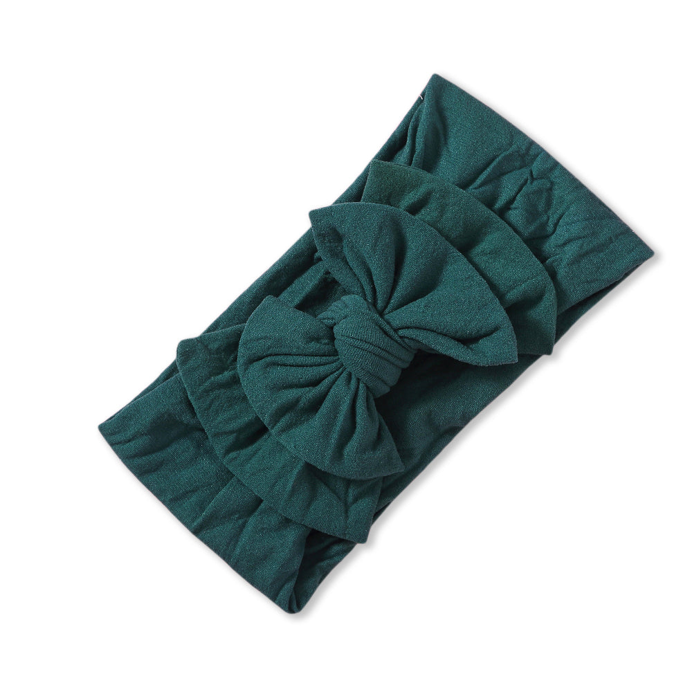 Baby Soft n Stretchy Double Bow Plain Headband — Pine Green