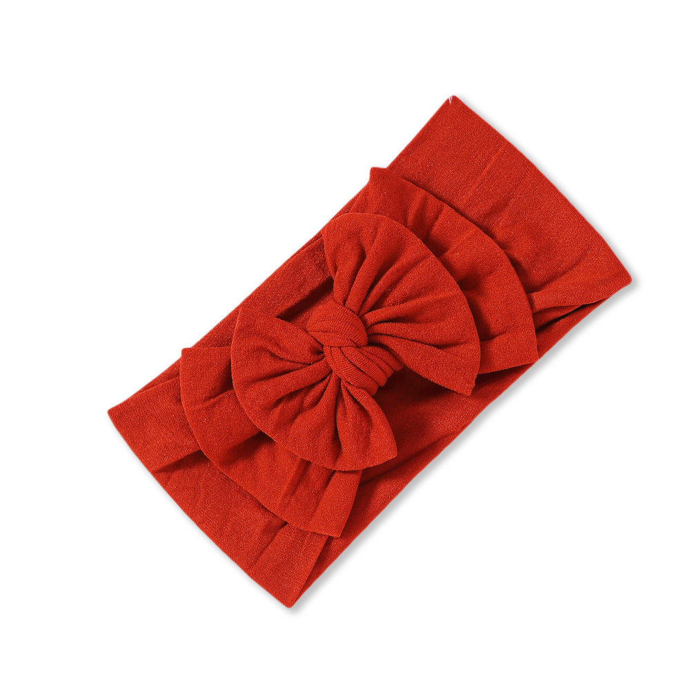 Baby Soft n Stretchy Double Bow Plain Headband — Rouge