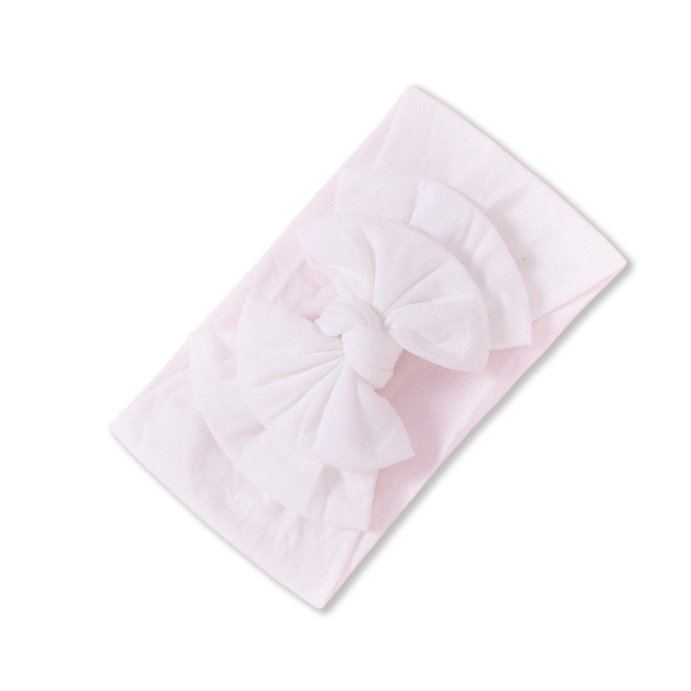 Baby Soft n Stretchy Double Bow Plain Headband — White