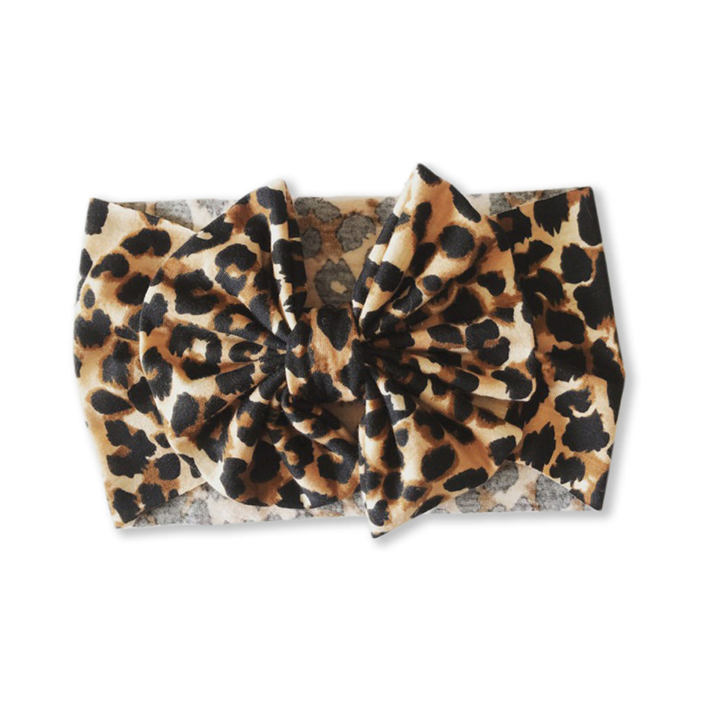 Baby Leopard Print Bow Headband — Large Light