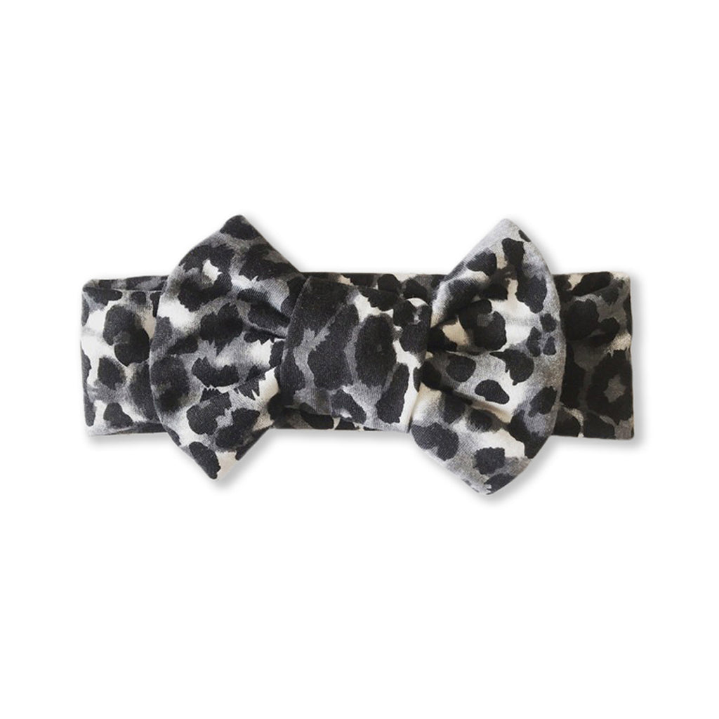 Baby Leopard Print Bow Headband — Small Dark