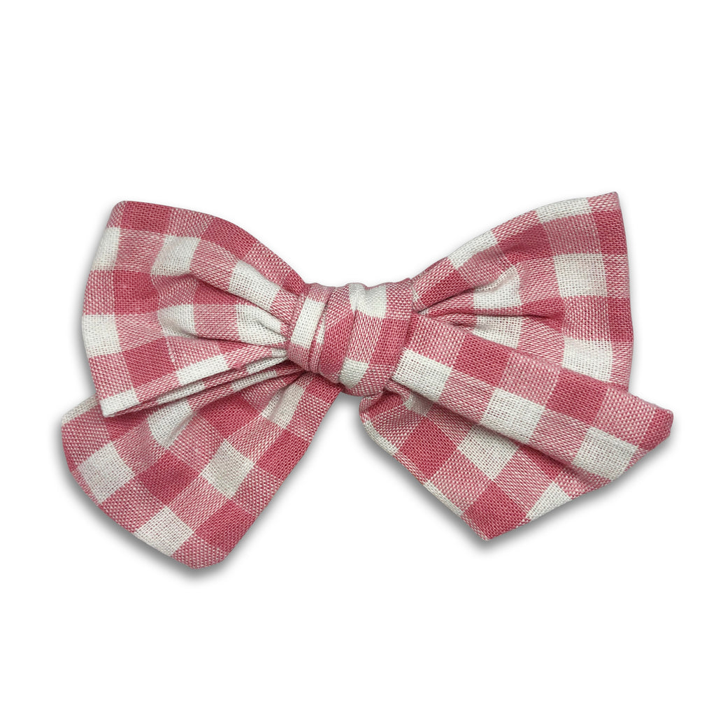 Baby Large Bow Headband — Pink Check