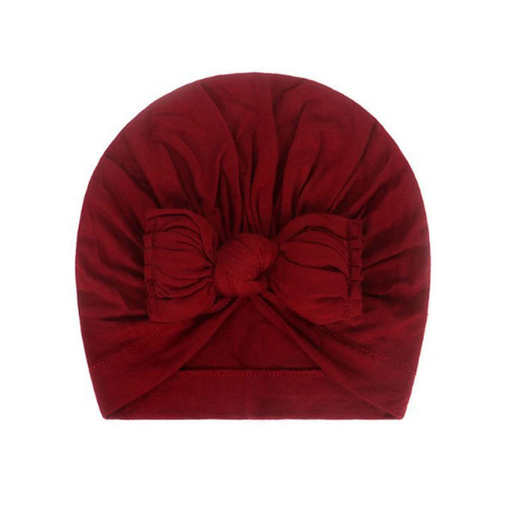 Baby Plain Stretchy Bow Knot Turban — Cherry