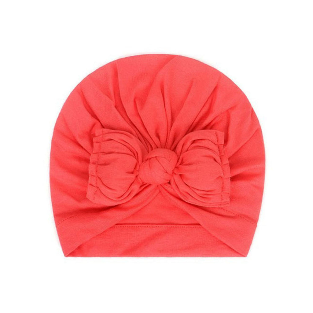 Baby Plain Stretchy Bow Knot Turban — Coral