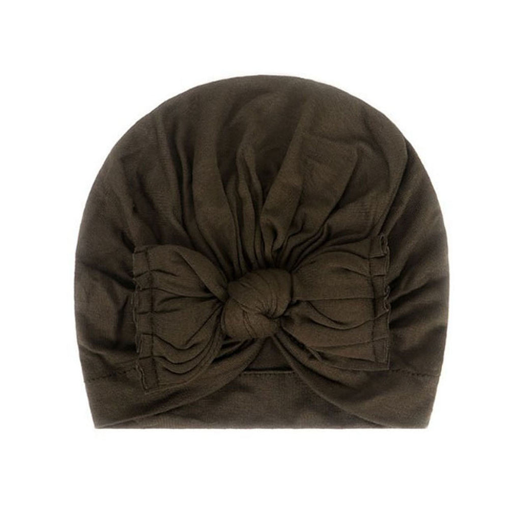 Baby Plain Stretchy Bow Knot Turban — Sage
