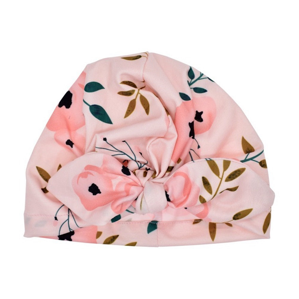 Baby Printed Bow Knot Turban — Pink Floral