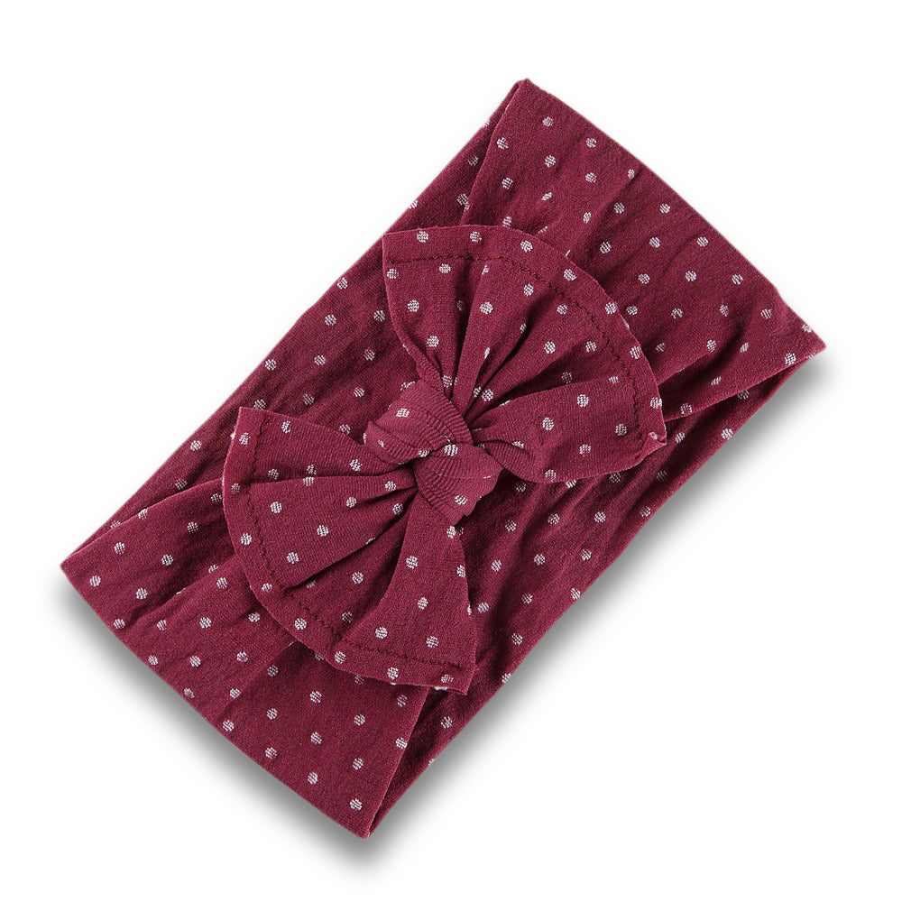 Baby Spotty Single Bow Headband — Magenta