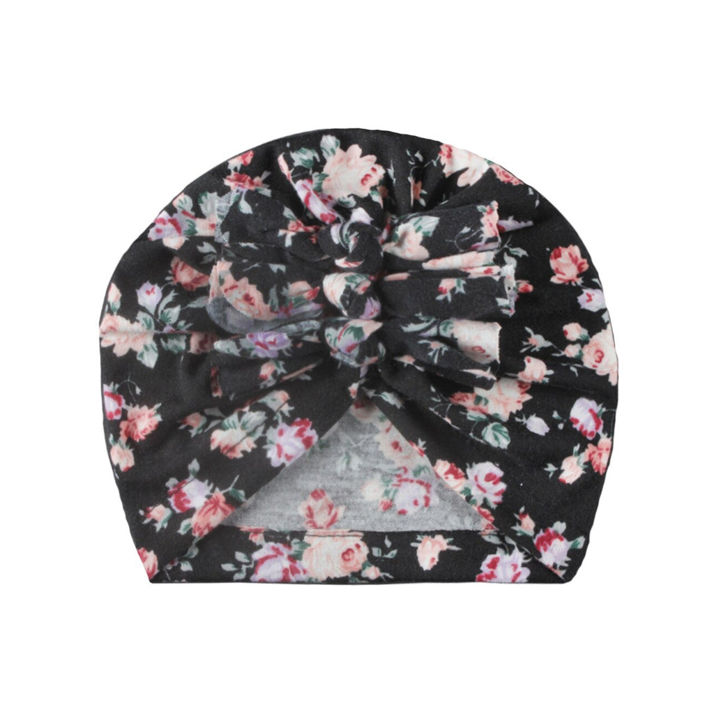 Baby Triple Knot Hairwrap Turban — Black Floral
