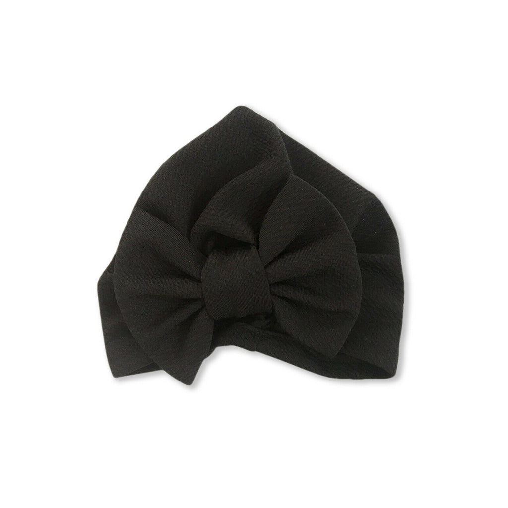 Baby Large Bow Turban Cap — Black