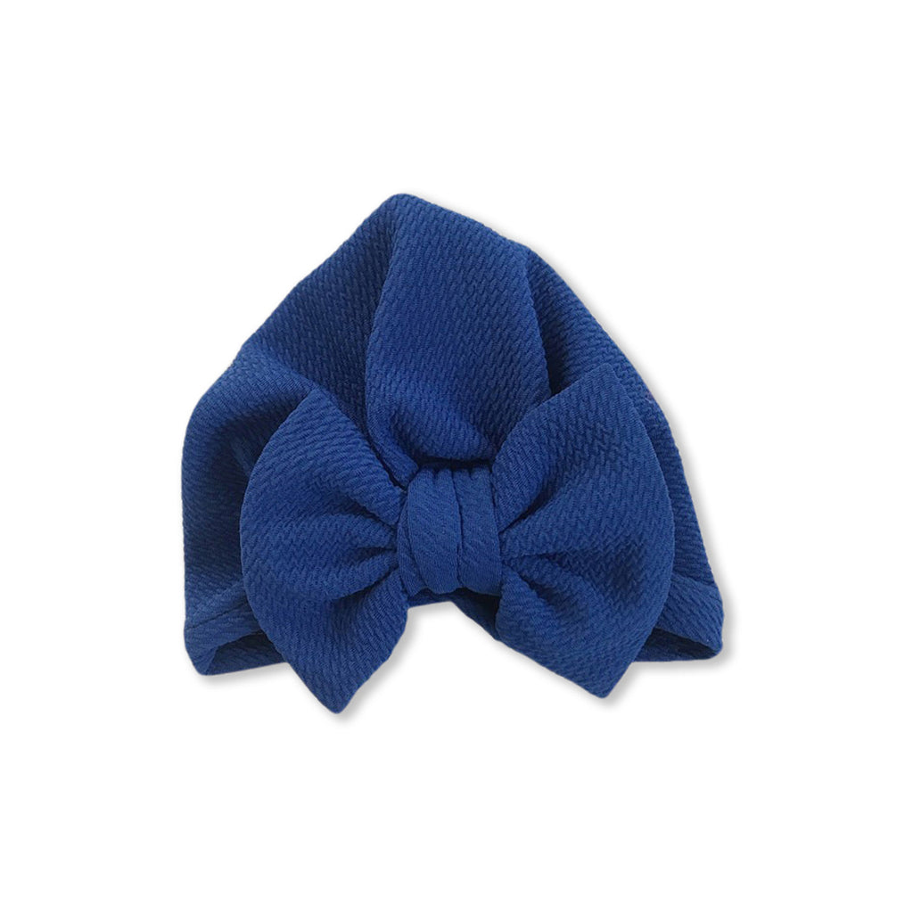 Baby Large Bow Turban Cap — Blue