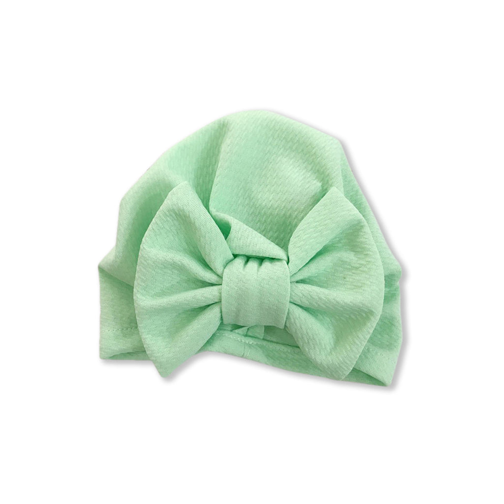 Baby Large Bow Turban Cap — Mint