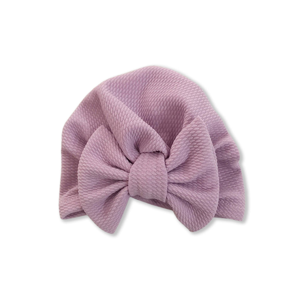 Baby Large Bow Turban Cap — Orchid