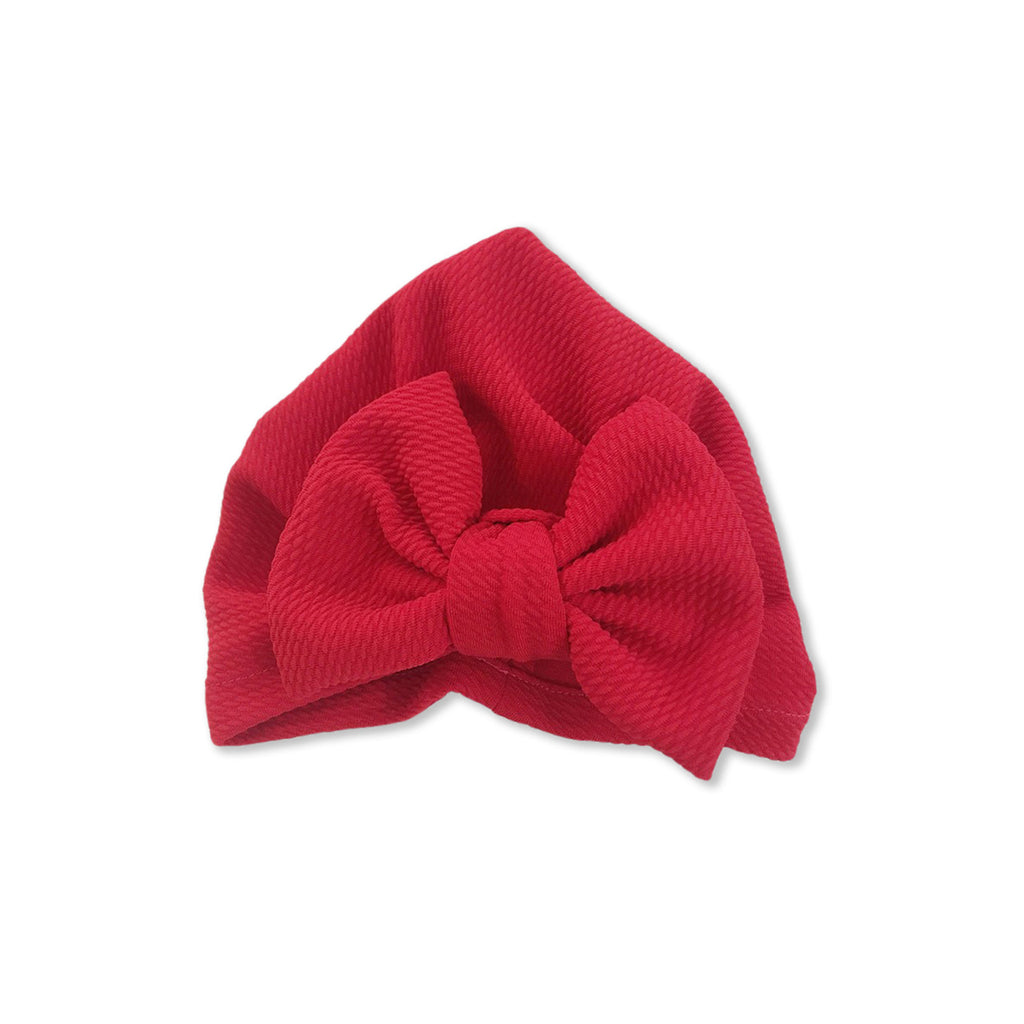 Baby Large Bow Turban Cap — Strawberry