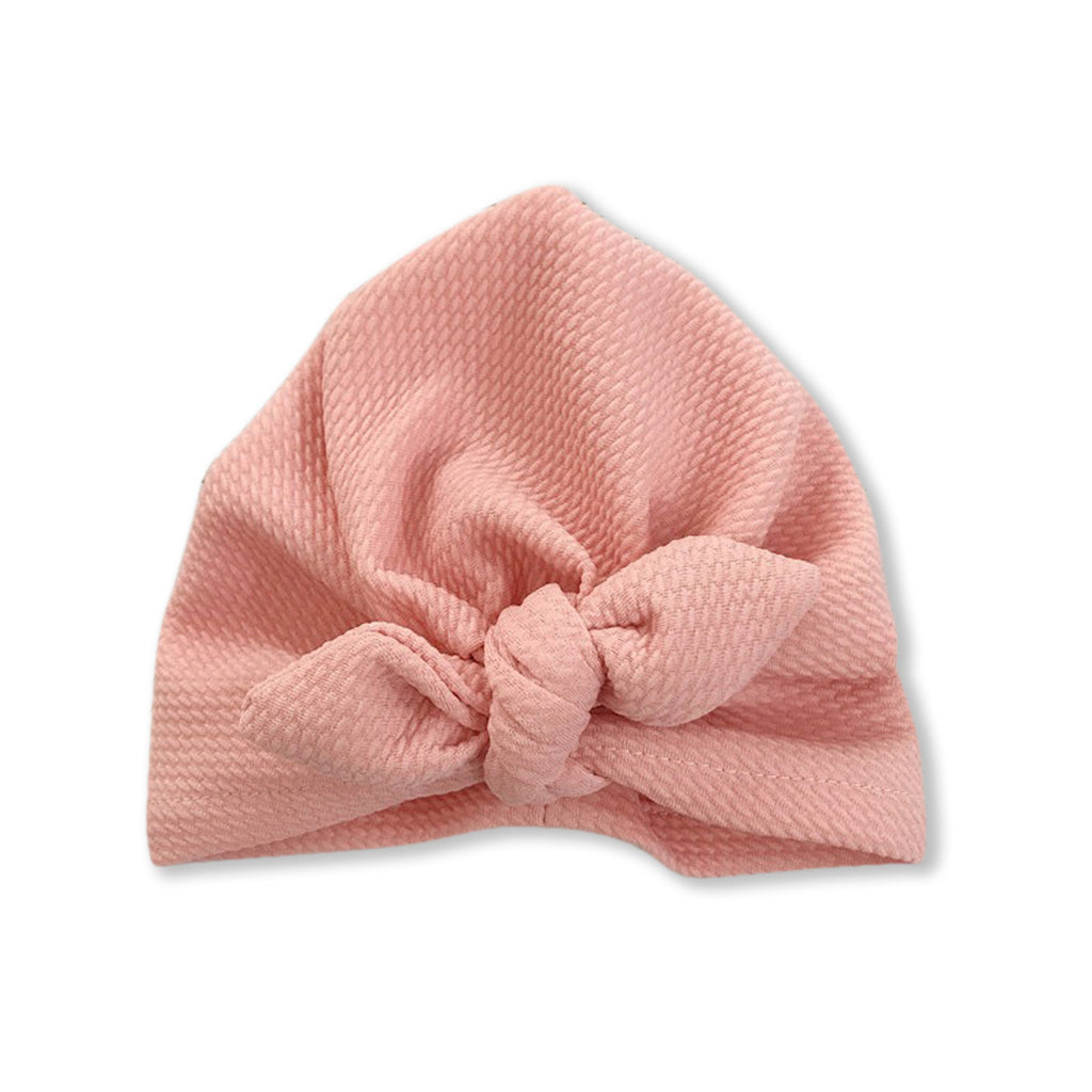 Baby Mini Ear Bow Knot Turban Cap — Blush