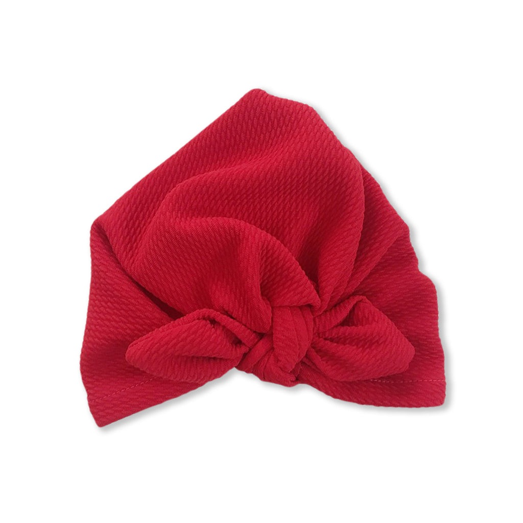 Baby Mini Ear Bow Knot Turban Cap — Red