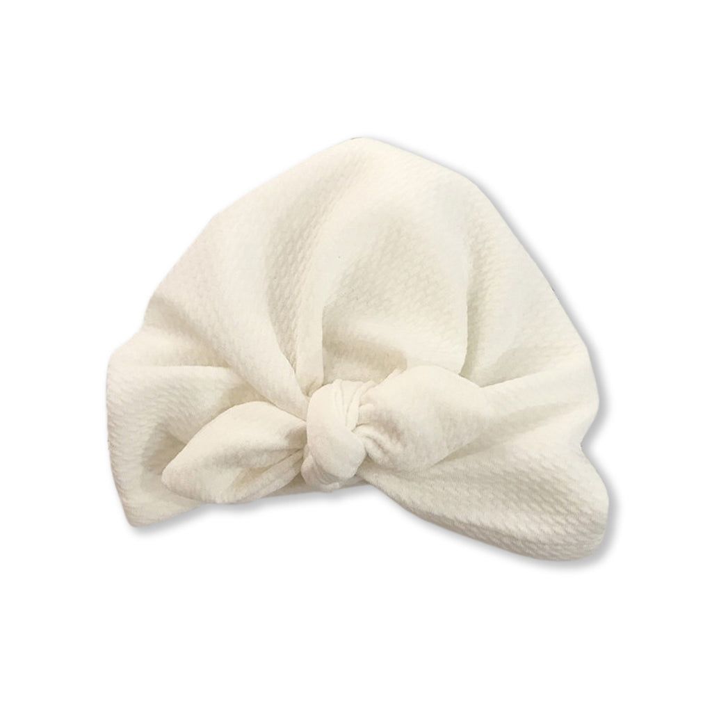 Baby Mini Ear Bow Knot Turban Cap — White
