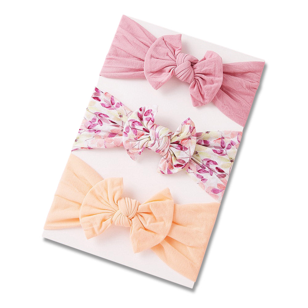 Baby Headband 3pc Set — Blush / Apricot