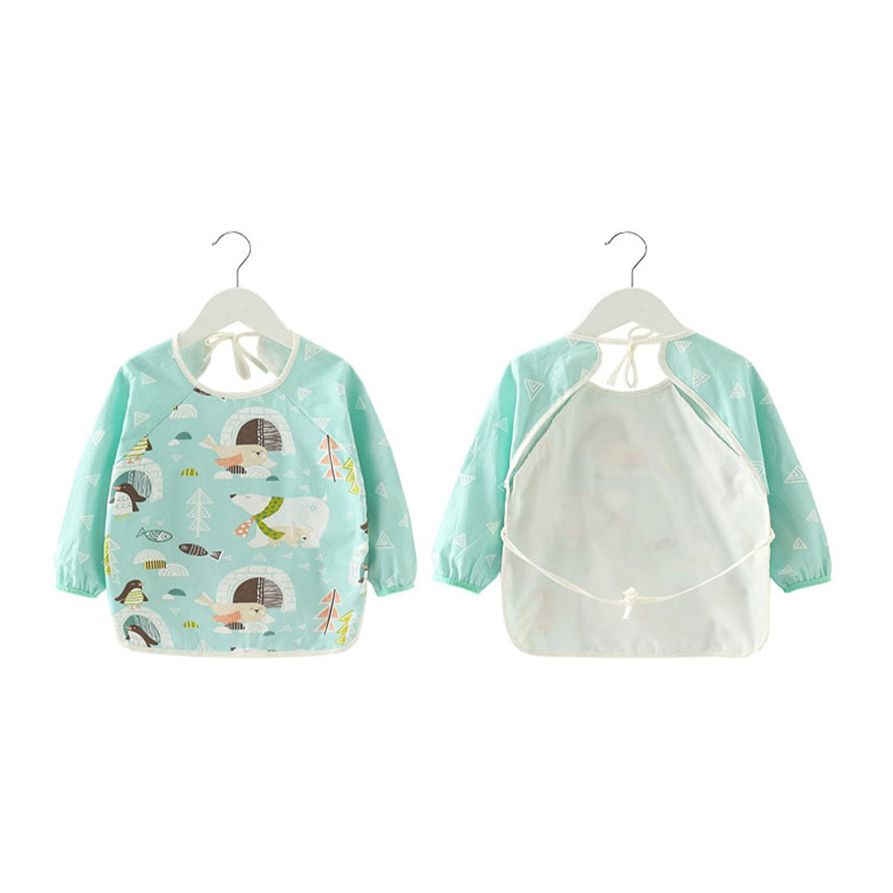 Baby Long Sleeve Apron Smock Bib — Pink Animals