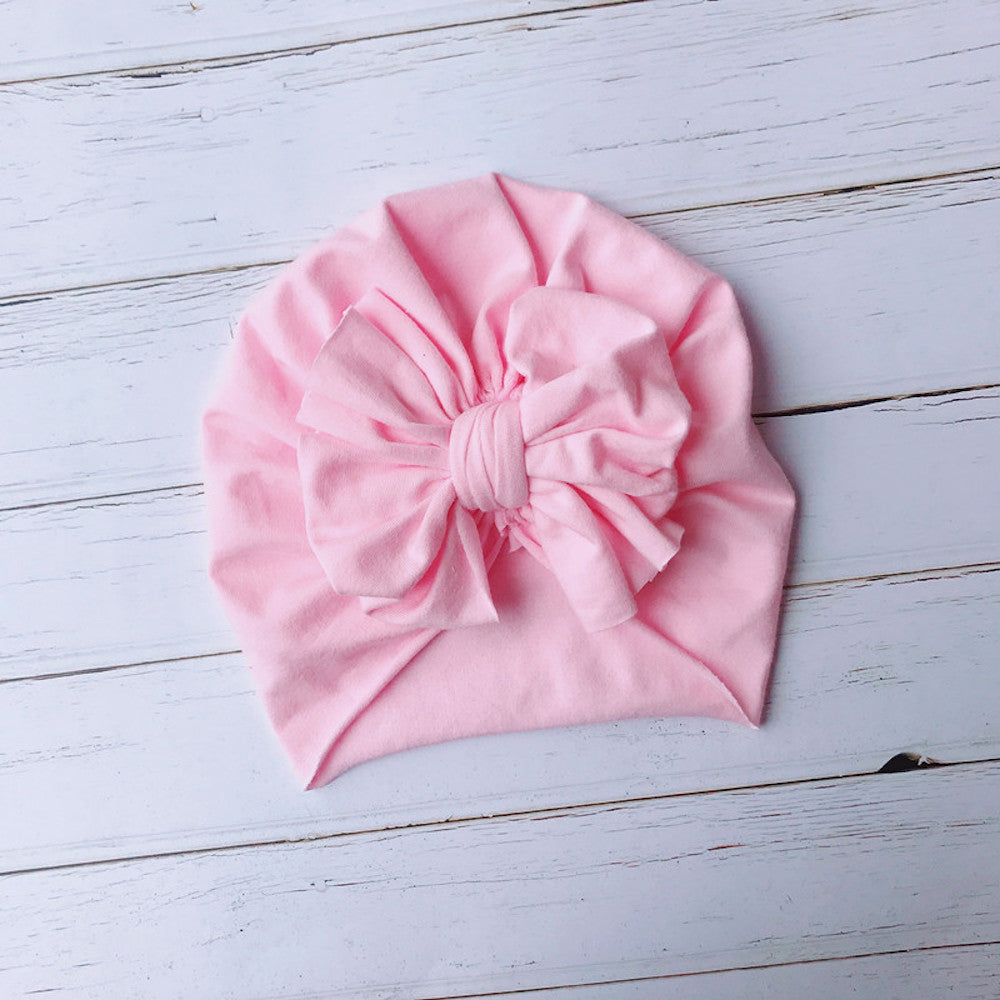 Baby Top Knot Bow Turban — Pink