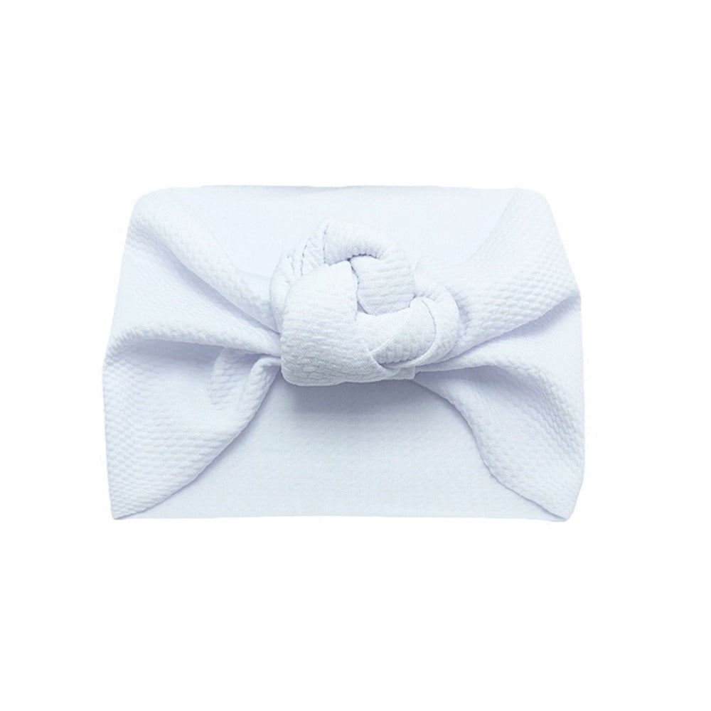 Baby Wide Bow Knot Headband — White