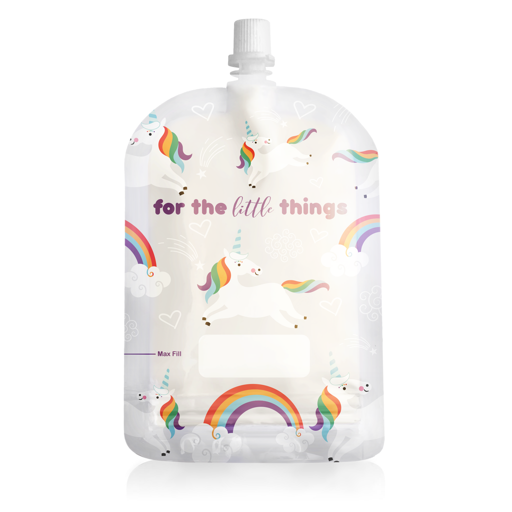 Sinchies 150ml Reusable Baby Food Pouch 10 Pack —Unicorns & Rainbows