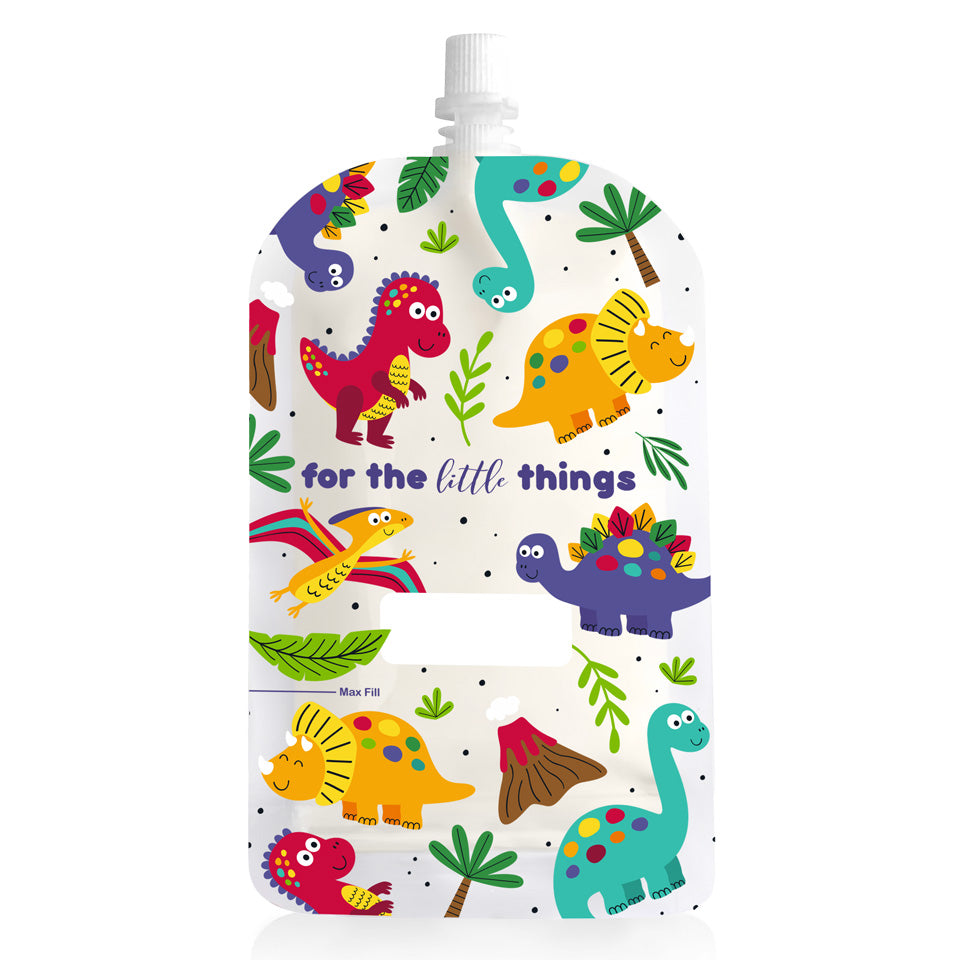 Sinchies 200ml Reusable Baby Food Pouch 5 Pack — Dinosaurs