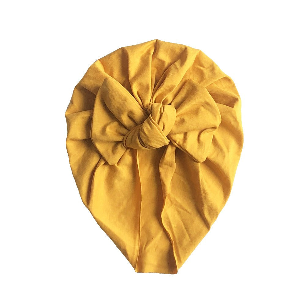 Soft Cotton Bow Turban — Mustard