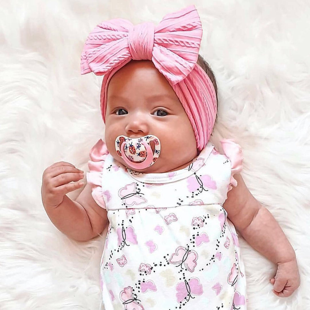 Baby Top Knot Double Bow Headband — Punch
