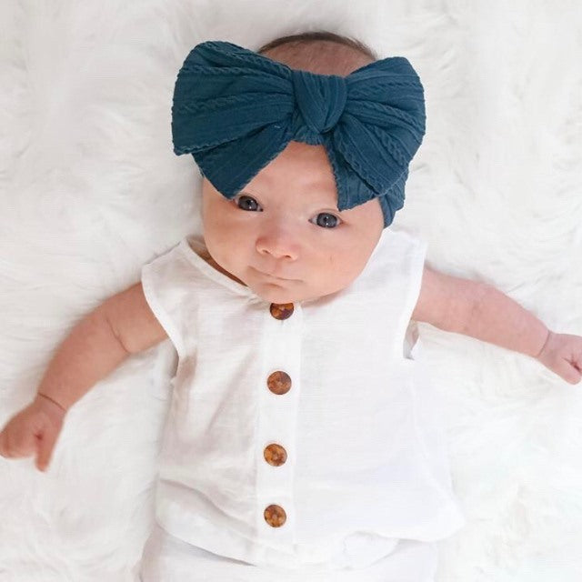 Baby Top Knot Double Bow Headband — Rouge