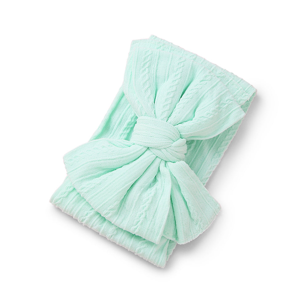 Baby Top Knot Double Bow Headband — Mint