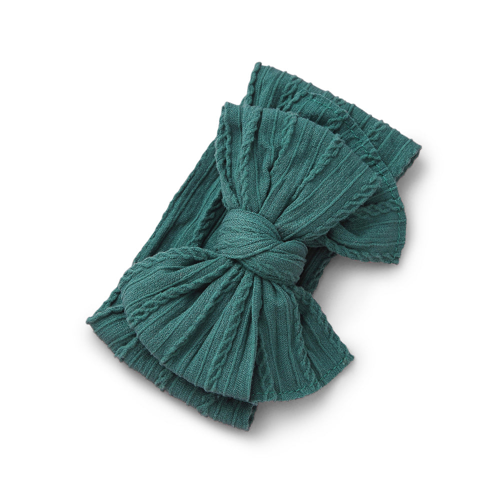 Baby Top Knot Double Bow Headband — Pine Green