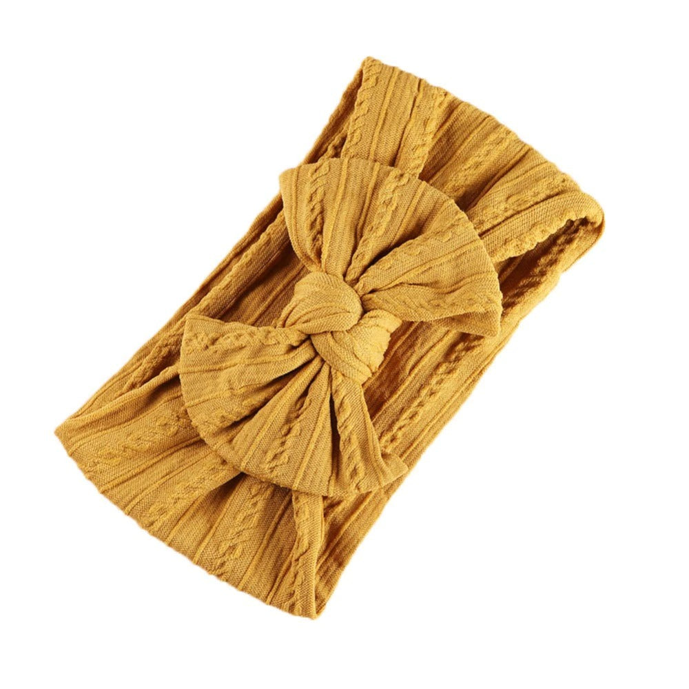 Baby Top Knot Single Bow Headband — Mustard