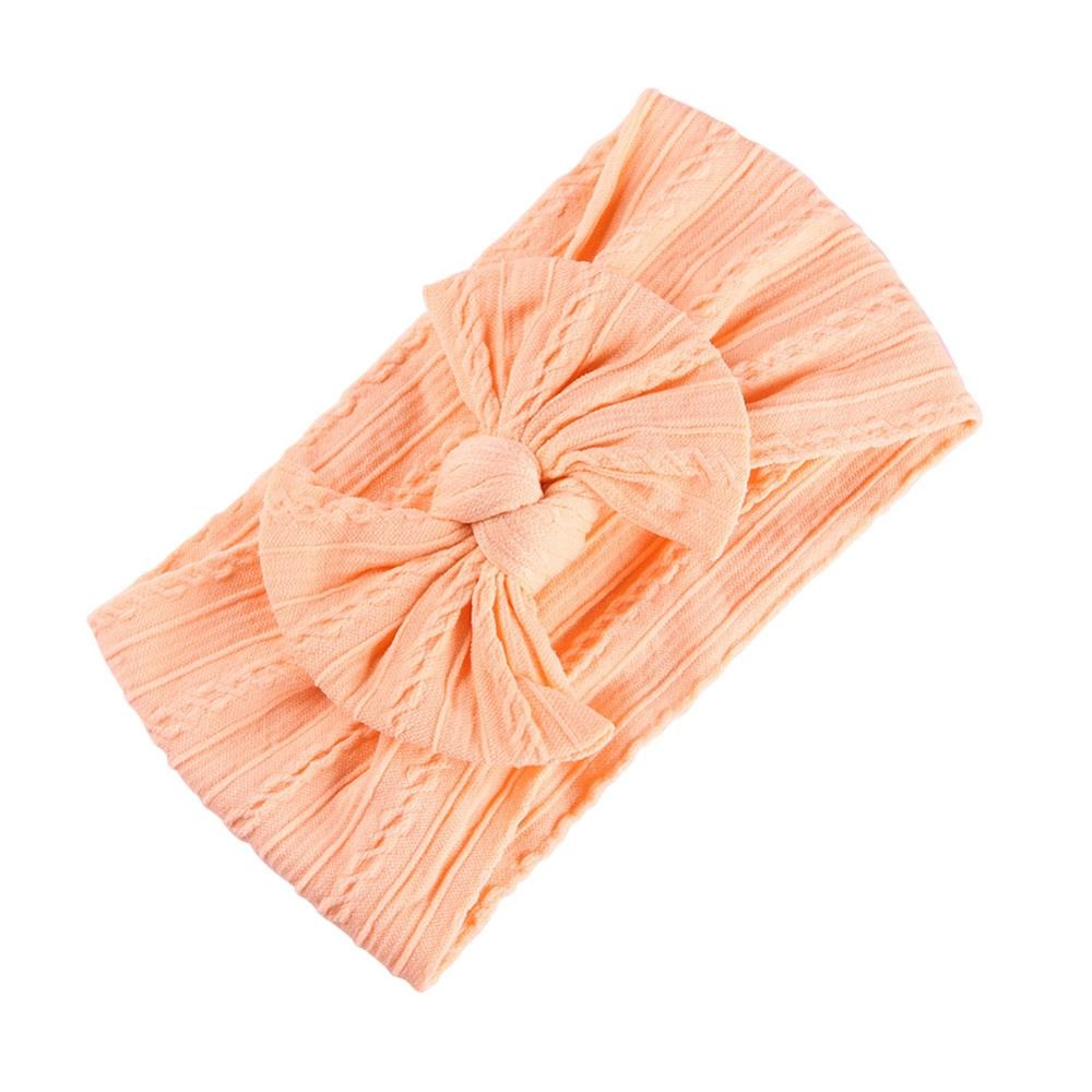 Baby Top Knot Single Bow Headband — Peach