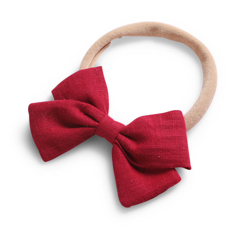 Baby Linen Bow Headband — Cherry