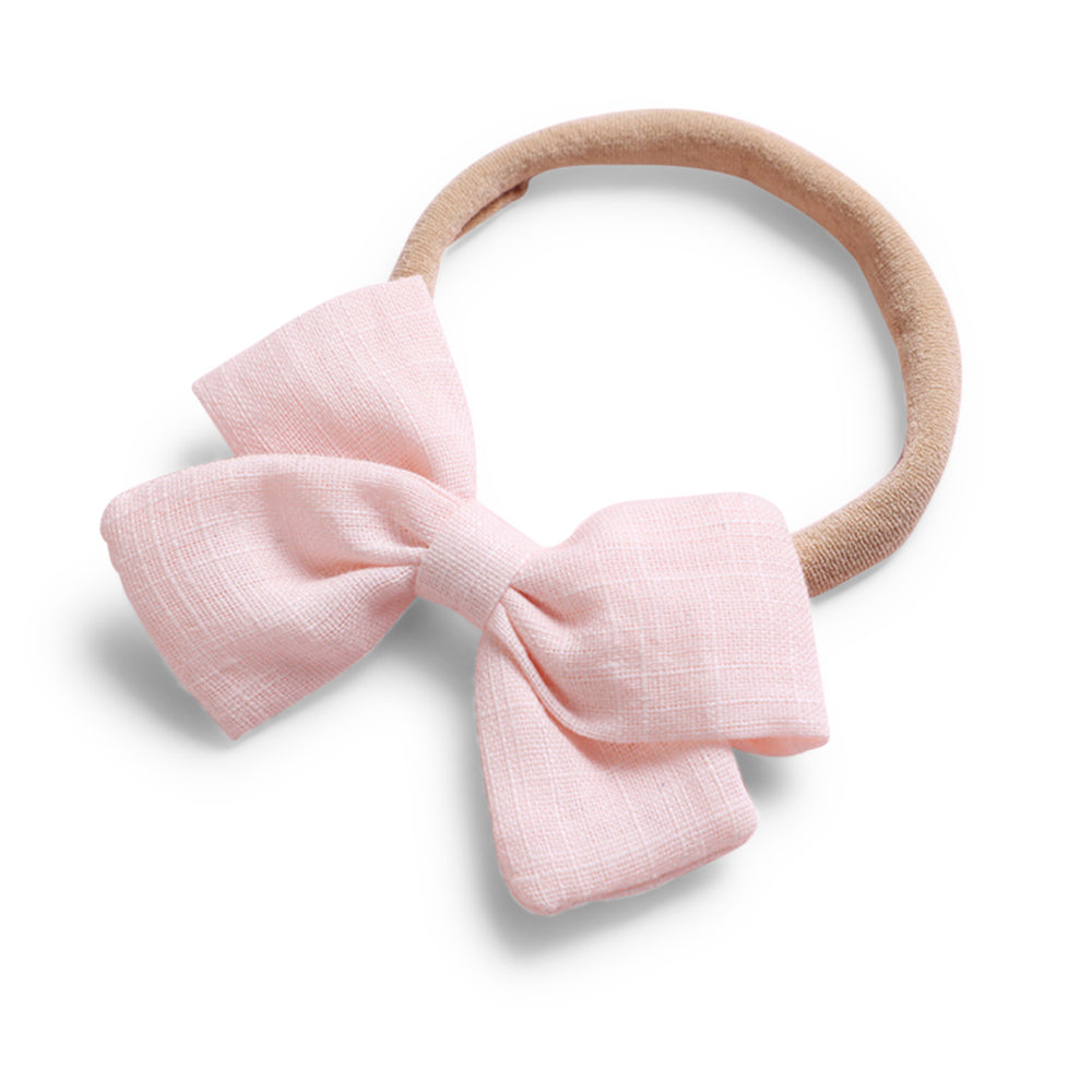 Baby Linen Bow Headband — Soft Pink