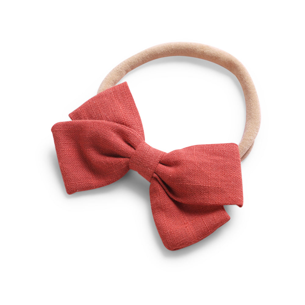 Baby Linen Bow Headband — Red