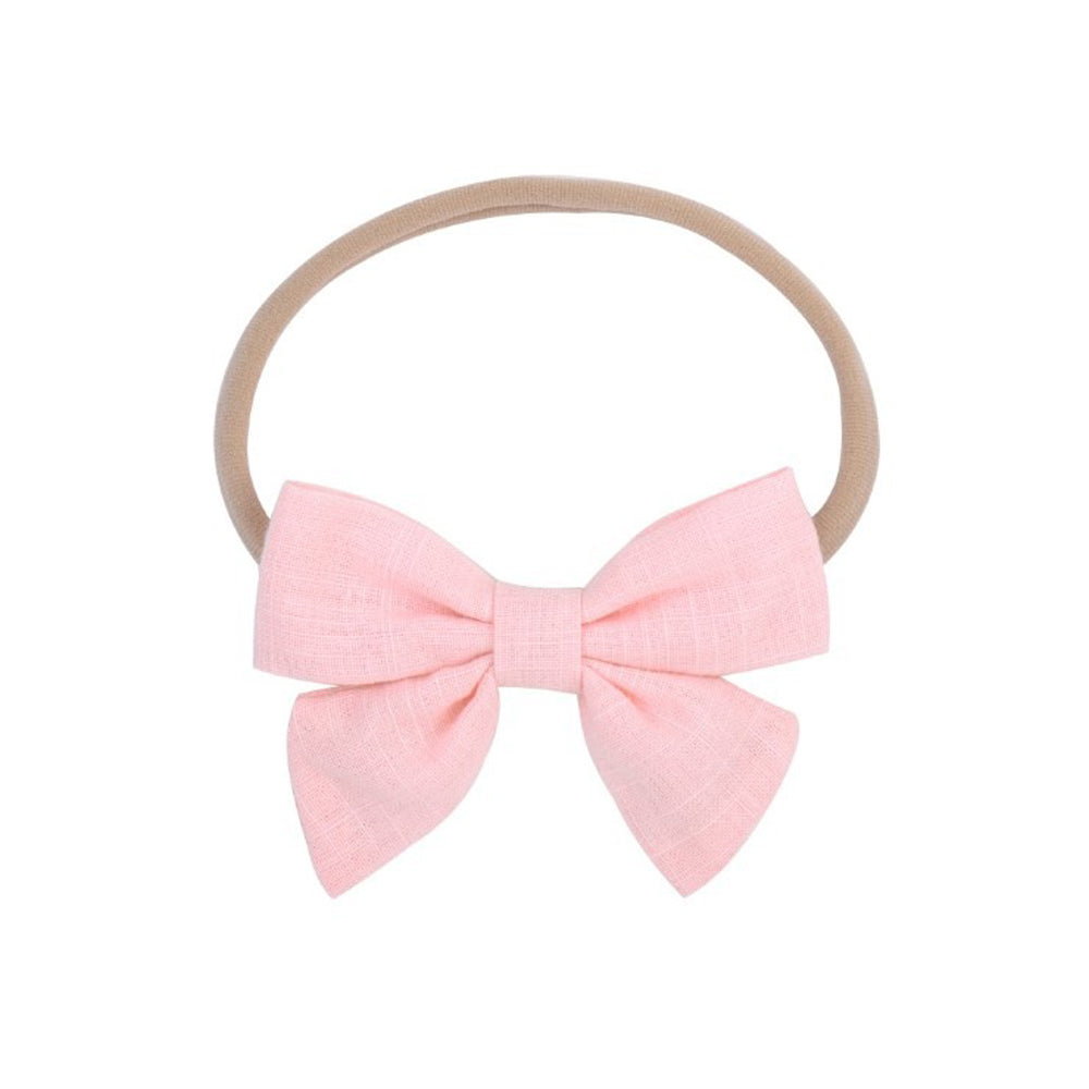 Baby Linen Cutie Bow Headband — Flamingo