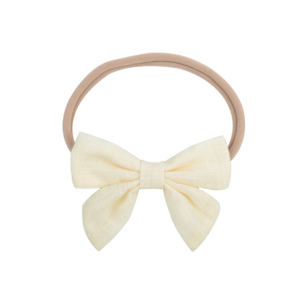 Baby Linen Cutie Bow Headband — Lemon
