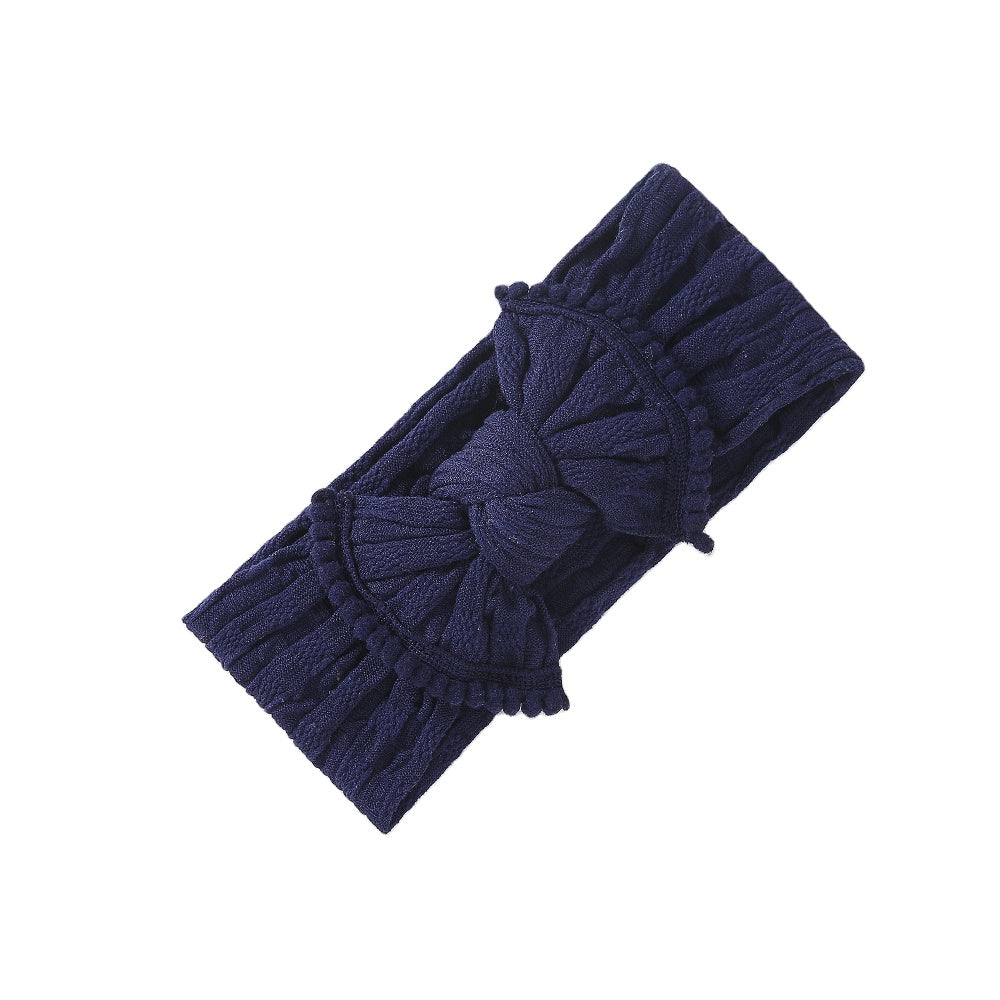 Baby Soft Frill Headband Bow — Navy