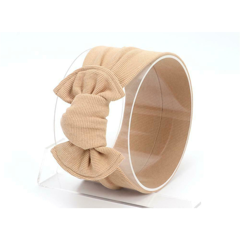 Baby Large Knot Ribbed Headband — Beige