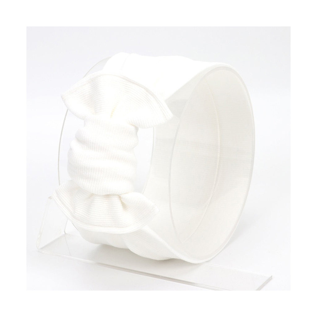 Baby Large Knot Ribbed Headband — White