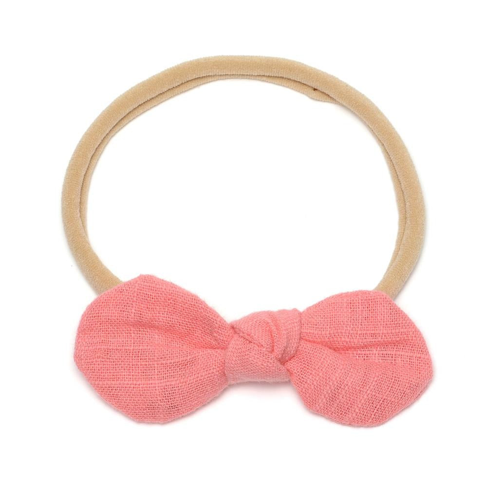 Baby Linen Knot Bow Headband — Coral